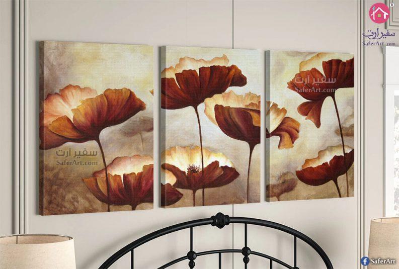 لوحات مودرن ورود بلون احمر