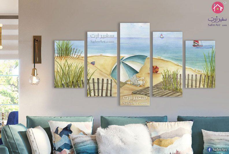 تابلوهات مودرن للبحر شمسية و كراسى