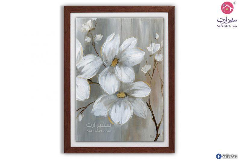 تابلو ورود و زهور بلون رمادى و اطار خشب بنى