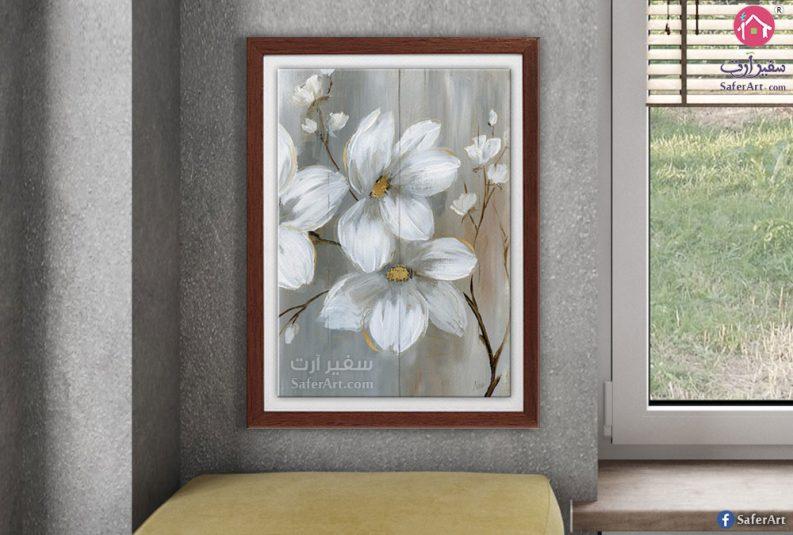 لوحة زهور رمادى باطار خشبى بنى