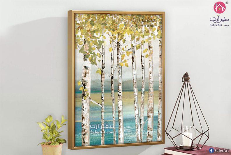 لوحات مودرن بإطار خشب طبيعى رسم يدوى