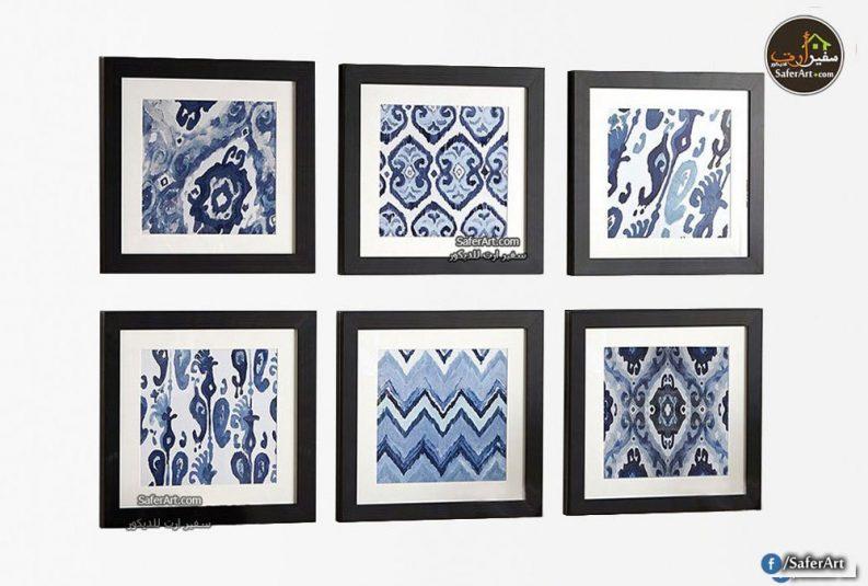 لوحات مودرن ببرواز 6 قطع ازرق
