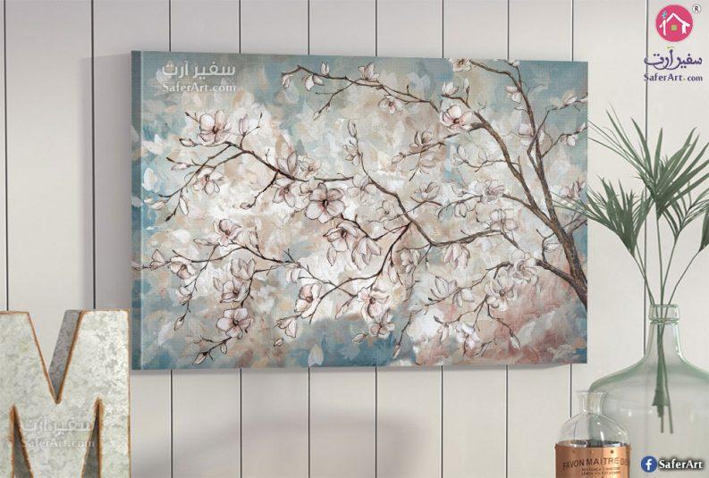 لوحات مودرن شجره الورود البيضاء
