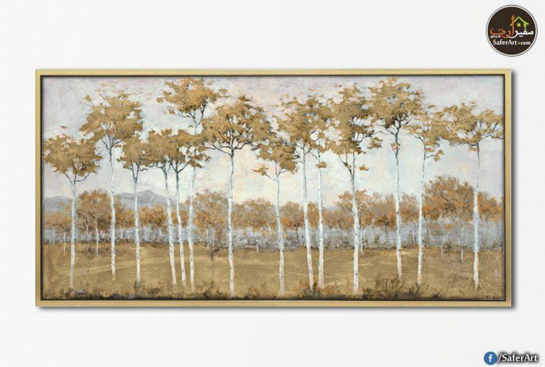 تابلوهات مودرن لاشجار باللون البنى رسم يدوى