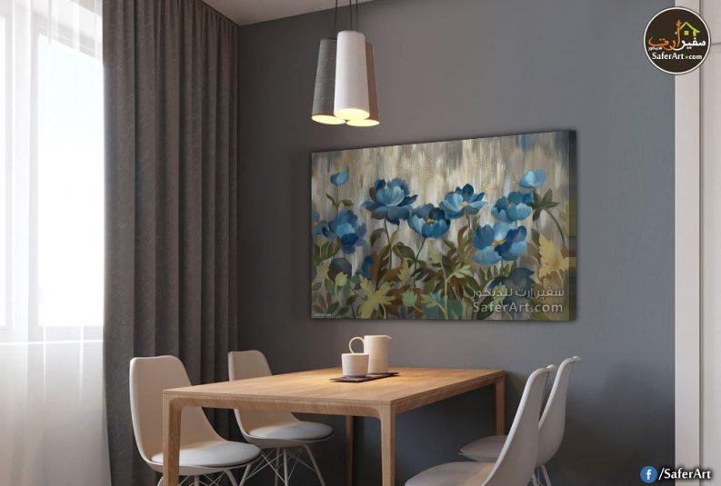 لوحات مودرن ورود زرقاء