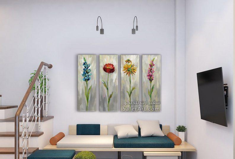 لوحات حائط مودرن طويله لمجموعه من الزهور