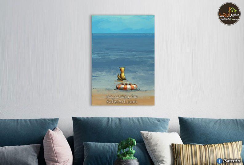 تابلوه حائط مميز لشاطئ البحر باللون الازرق