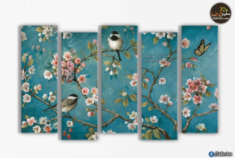 تابلوه عصافير وورود