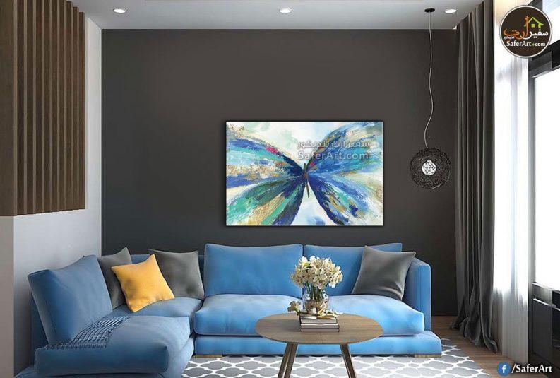 تابلوه مودرن حائط لفراشة زرقاء