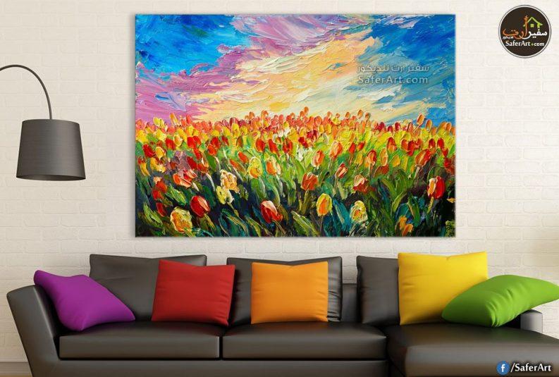 تابلوه حائط مودرن حقل زهور