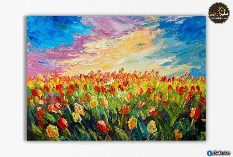 حقل زهور احمر واصفر