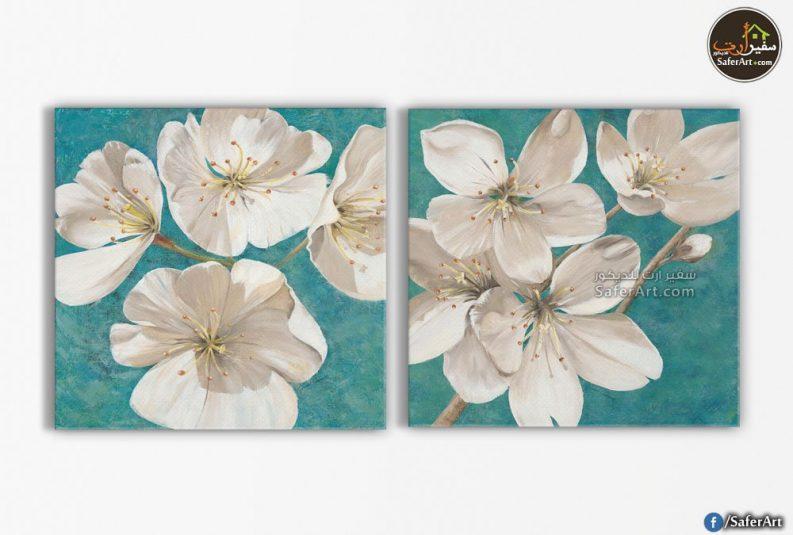 لوحات مودرن -ورود بيضاء
