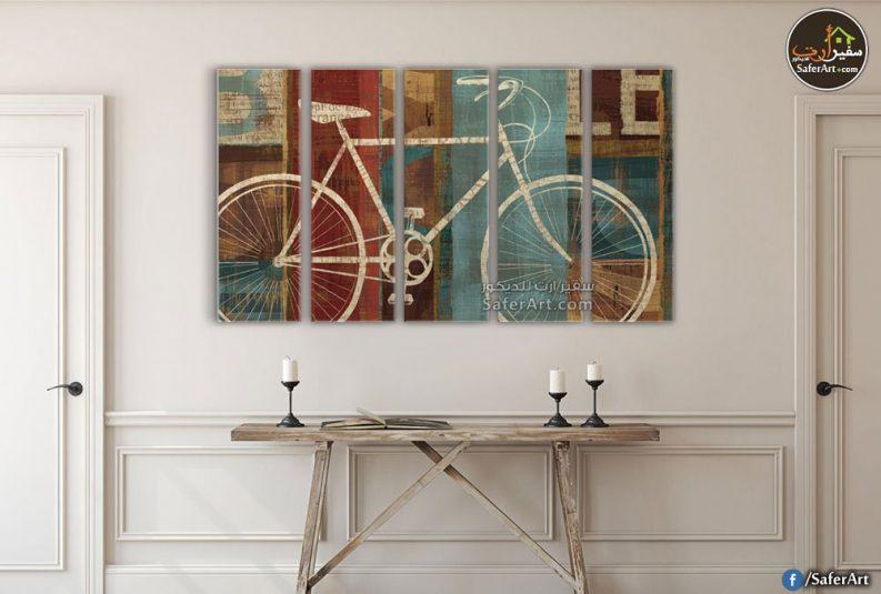تابلوهات مودرن لدراجه هوائية باللون البيج