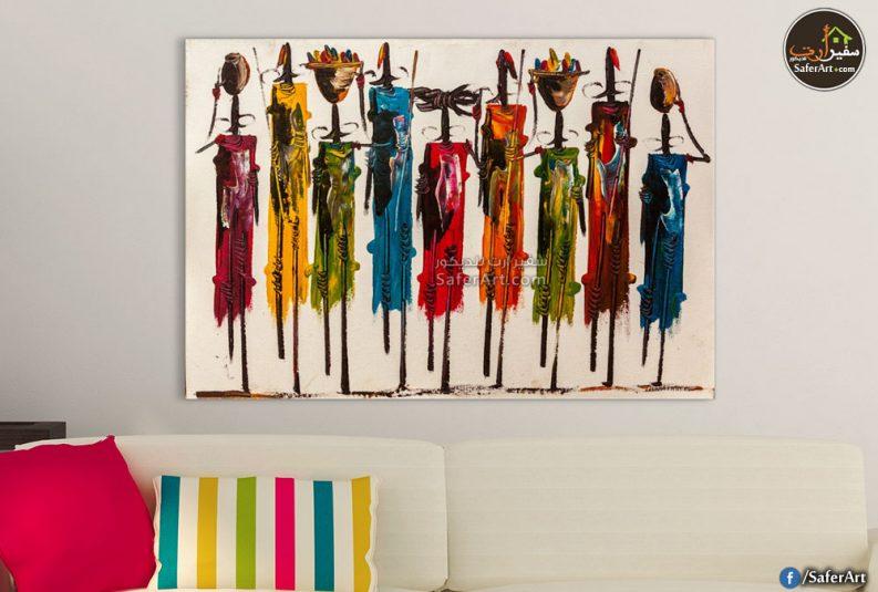 تابلوه مودرن تجريدي لاحدى الرسومات الافريقيه القديمه