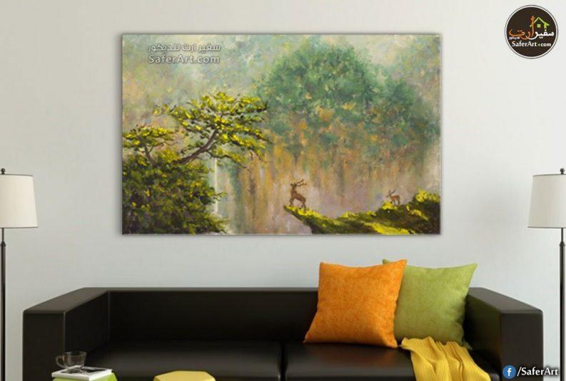 تابلوه مودرن لمنظر طبيعي لمجموعه من الاشجار الخضراء