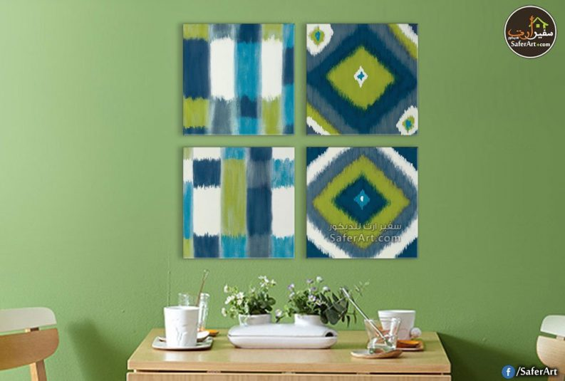 تابلوهات حائط مودرن , أشكال هندسيه وزخارف بالوان جذابه ومتناسق