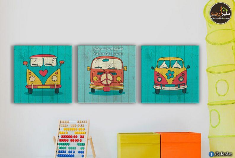 تابلوهات مودرن للاطفال من 3 قطع بتصميم كارتونى و الوان ملفتة