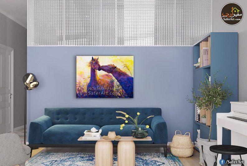 لوحه حائط لمحبي الحيوانات ,تابلوه رومانسي لحصانين