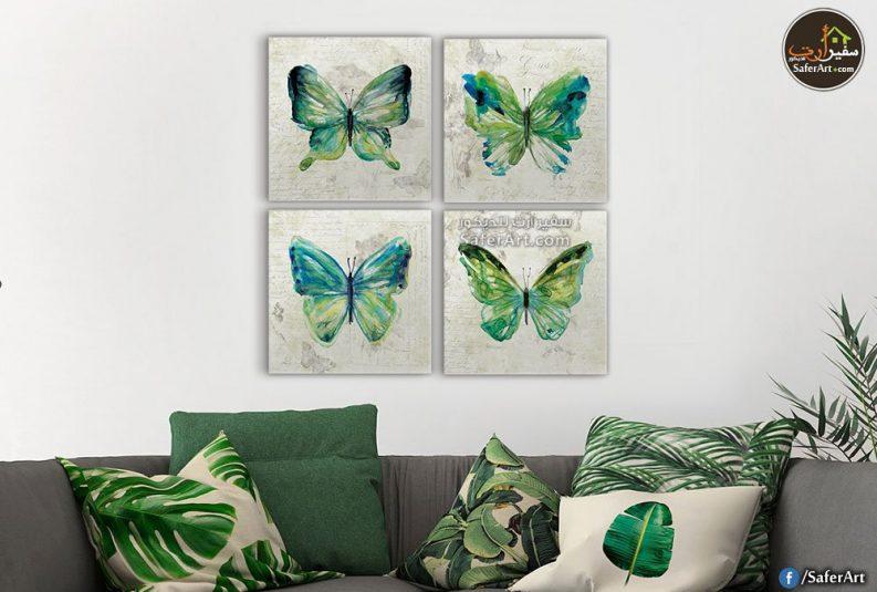 لوحة مودرن من 4 قطع لفراشات باللون الاخضر