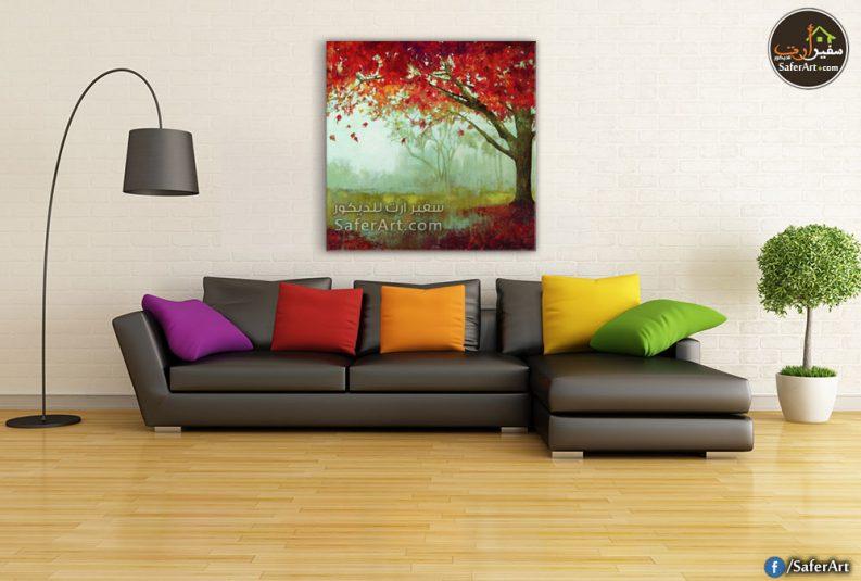 لوحه حائط لشجره كبيره باللون الاحمر
