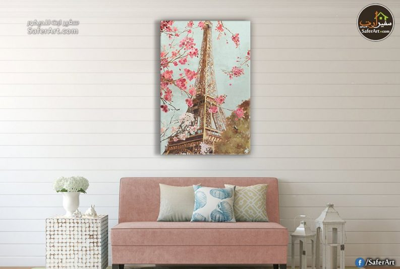 تابلوه مودرن لبرج ايفل مع بعض الورود فى فصل الربيع باللون البينك