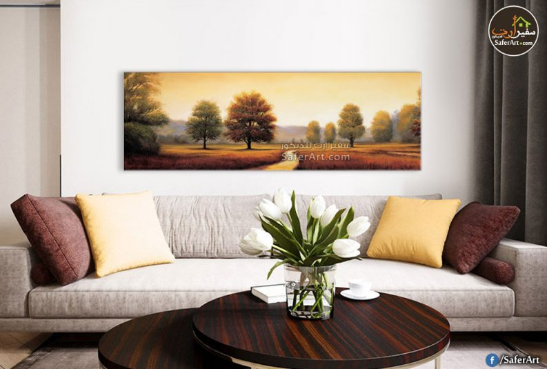لوحه حائط بانوراما لطريق على جانبيه أشجار الخريف