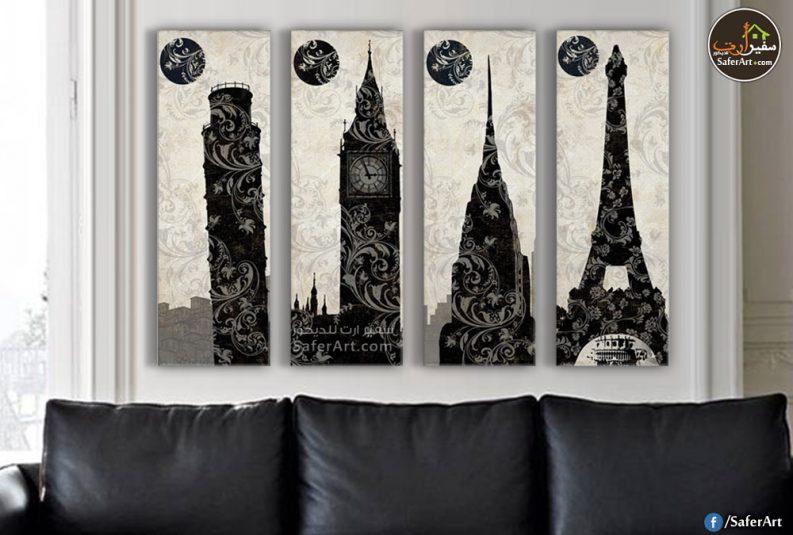 لوحات حائط مودرن وجديده باللون الاسود لظهور القمر اعلى الابراج الاكثر شهره على مستوى العالم