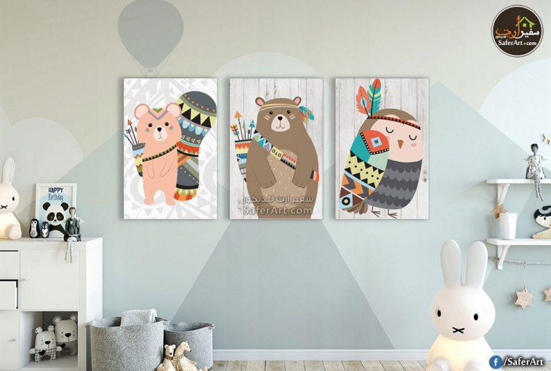 تابلوه حائط مودرن مرسوم بطريقه بسيطه جدا للأطفال لبعض الرسومات الكارتونيه