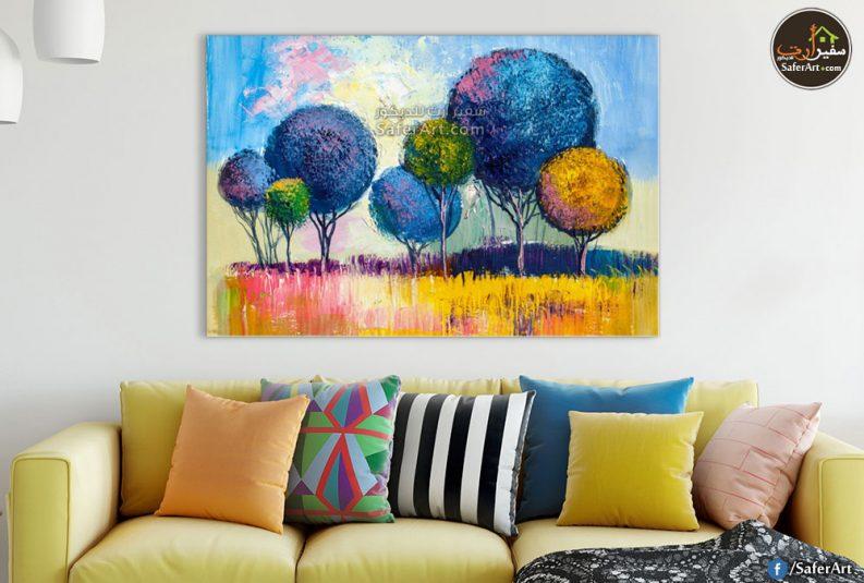 لوحات مودرن للديكور اشجار باللون الازرق والاصفر