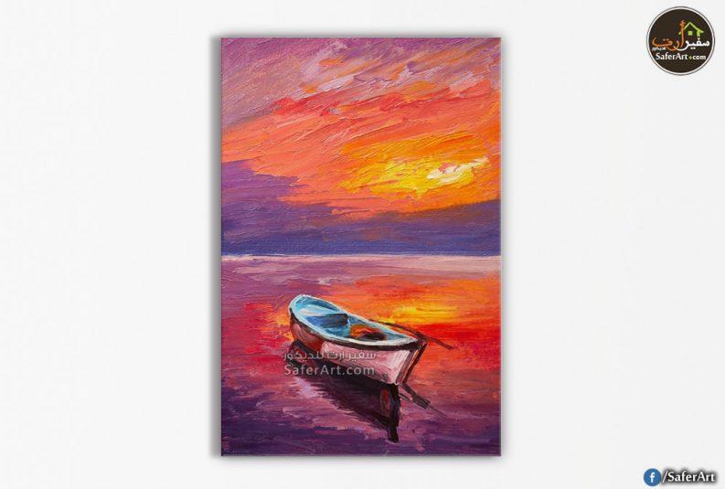 تابلوه مودرن-بحر وقارب
