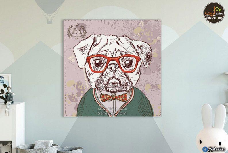 لوحه حائط كلب مرسوم بشكل كرتونى