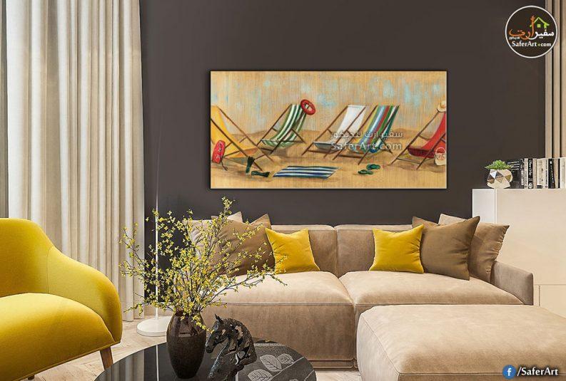 لوحات حائط مودرن لمقاعد على شاطئ البحر