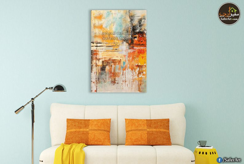 تابلوه حائط مودرن تجريدي بالوان متناسقه وراقيه جدا