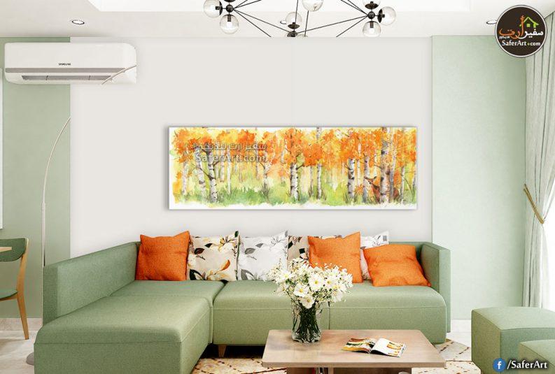 تابلوه مودرن لمجموعه أشجار بالوان جديده وزاهيه باللون البرتقالى
