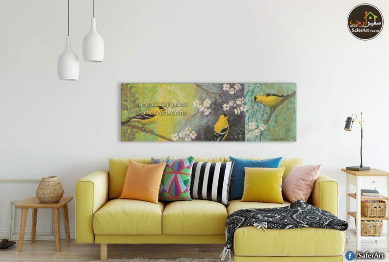 تابلوه حائط مودرن لرسومات جديده لمجموعه عصافير باللون الاصفر