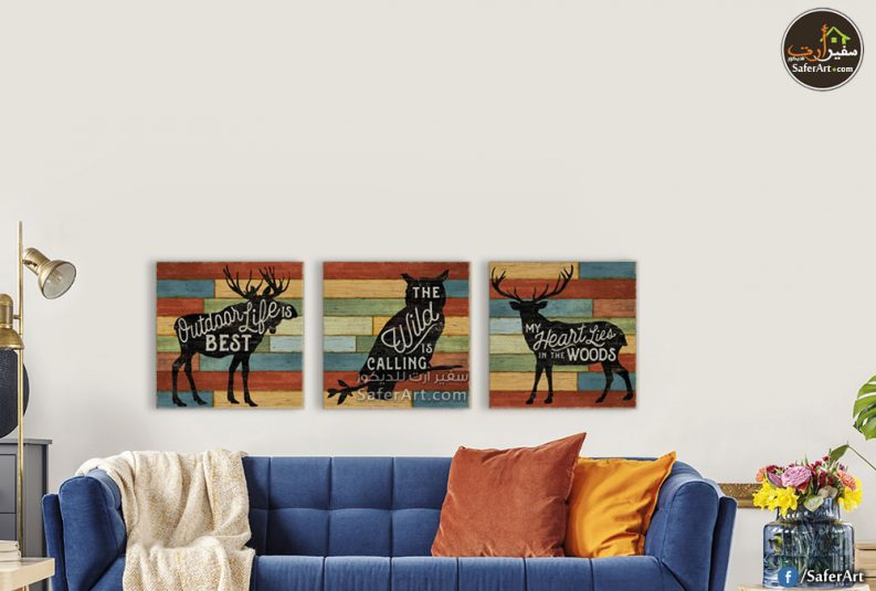 تابلوه مودرن من 3 قطع لمجموعه رسومات لحيوانات
