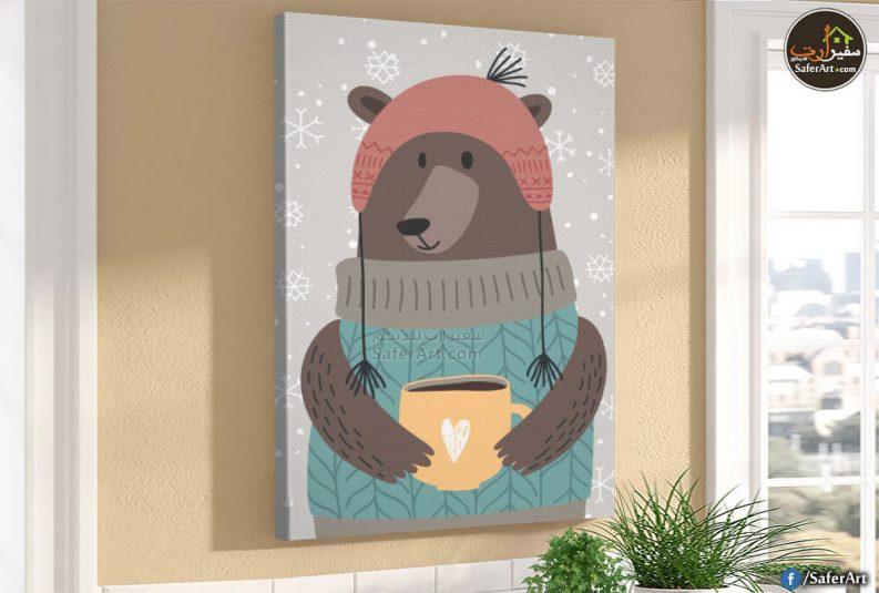 لوحه حائط مودرن لمحبي حيوان الدب باللون البنى