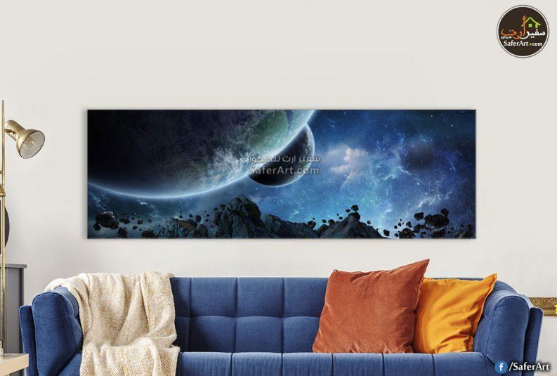 تابلوه حائط مودرن للفضاء باللون الازرق
