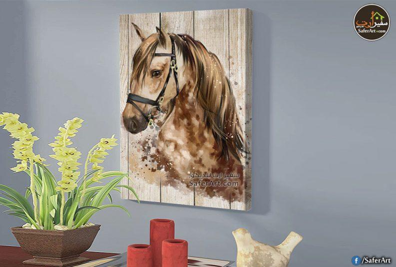 حصان مرسوم بطريقه مودرن باللون البنى