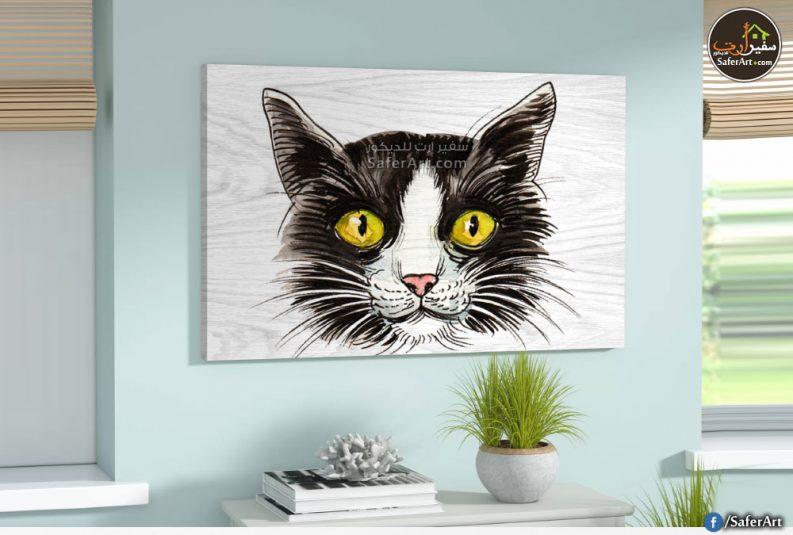 تابلوه مودرن لمحبي القطط والحيوانات مرسوم بطريقه جذابه لوجه قطه