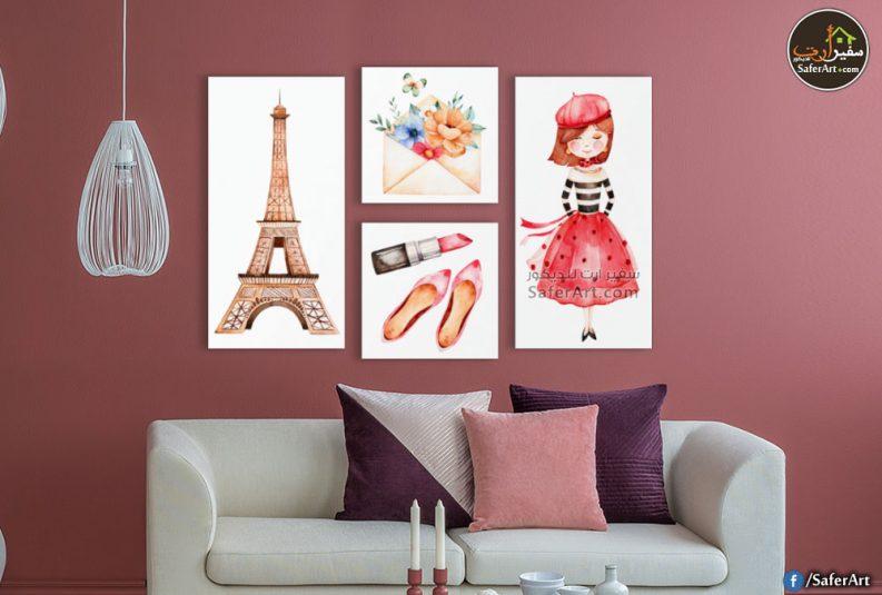 لوحات حائط مودرن لغرف البنات لبعض الرسومات والمقتنيات المحببه لدى البنات