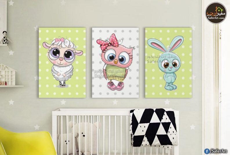لوحات حائط مميزه للاطفال لحيوانات مرسومه بطريقه مودرن