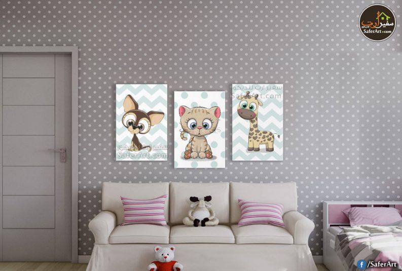 لوحات للديكور لحيوانات مرسومه بطريقه كرتونيه ومحببه لدى الاطفال