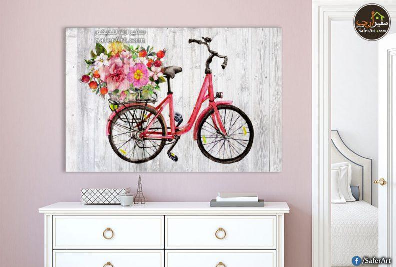 تابلوه حائط مودرن لغرف البنات لدراجه باللون البينك