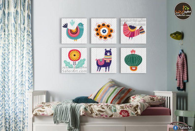 لوحات حائط مودرن للاطفال لمجموعه حيوانات