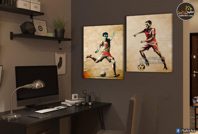 تابلوه حائط مودرن لغرف الشباب ,كره قدم للاعبين رياضين