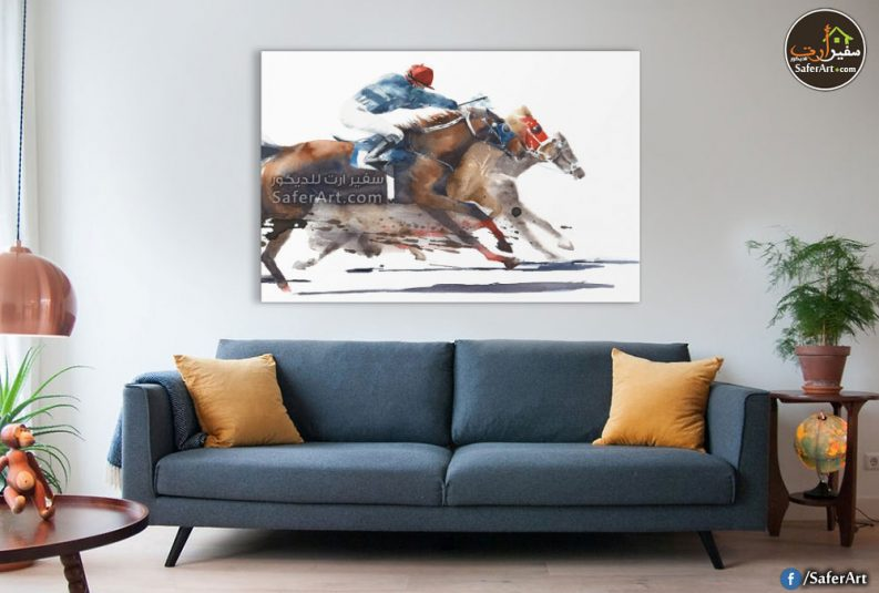 تابلوه حائط مودرن ,سباق خيول