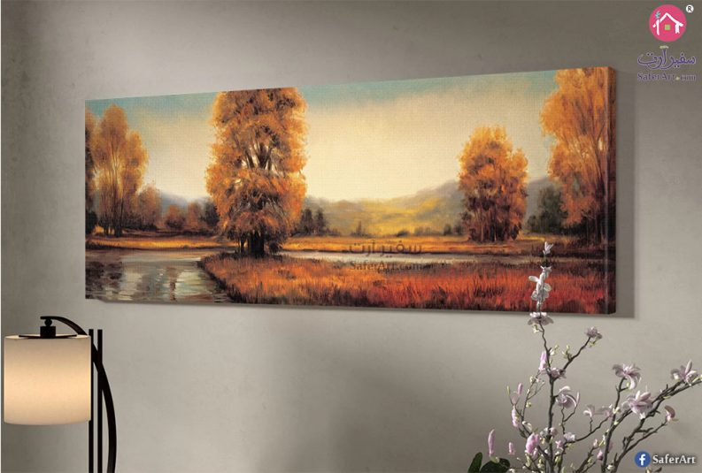 لوحه للديكور منظر طبيعي لطريق مليئ بالاشجار