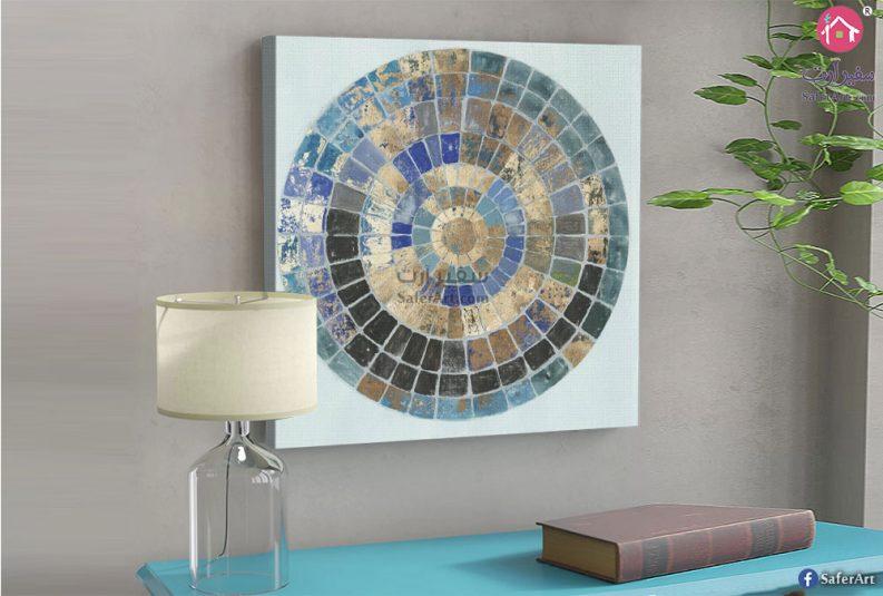 لوحه هندسيه مرسومه بشكل منتظم على شكل دائره بها مجموعه من المربعات
