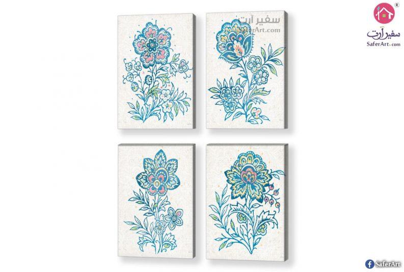 تابلوهات مودرن-زهور زرقاء